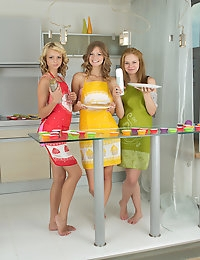 This sweet teen group is dedicated to pure female fun. Fantastic babes giving each other pleasure of lifetime in the kitchen of love.